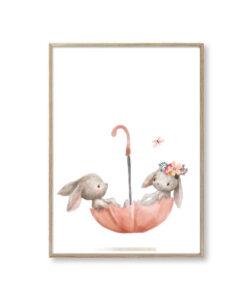 Børneplakater kanin paraply