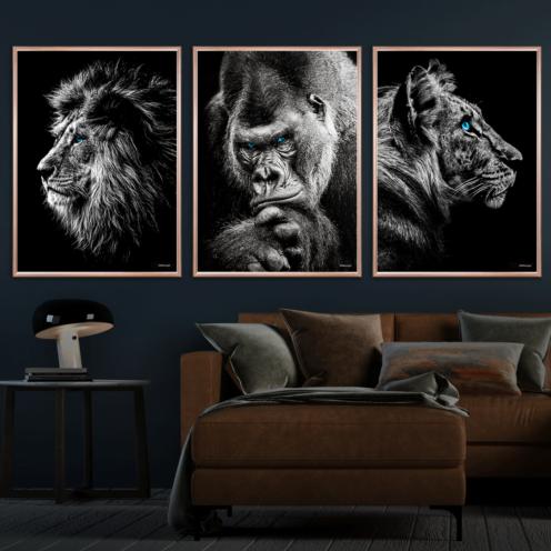 Løven-Gorilla-&-Tiger-Kobberrammer