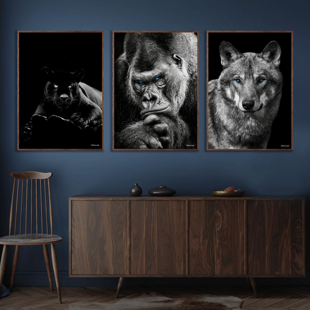 Puma-Gorilla-Ulv-Plakat-Mørkebrune-Plakatrammer-Eg