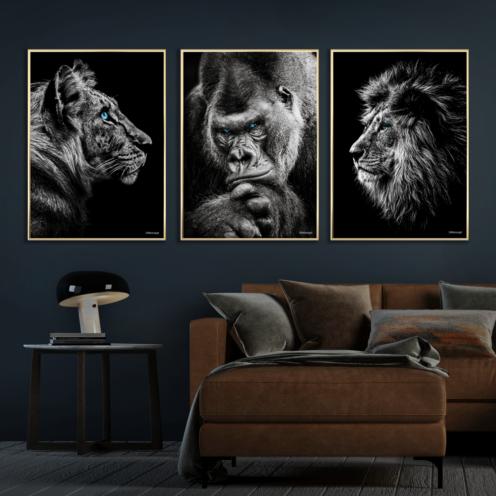 Tiger-Gorilla-Løve-Messing-Plakatrammer