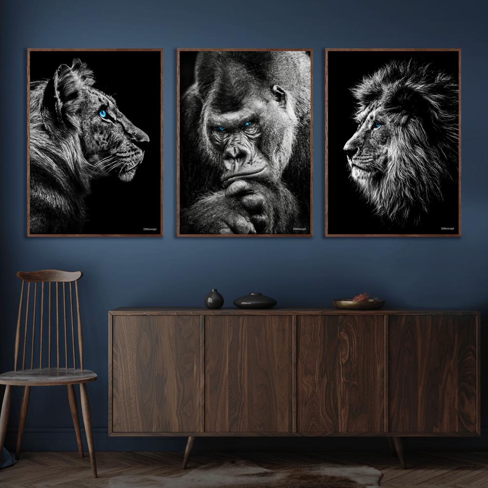 Tiger-Gorilla-Løve-Plakat-Mørkebrune-Plakatrammer-Eg