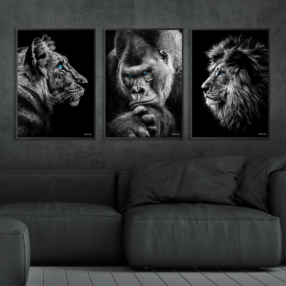 Tiger-Gorilla-Løve-Plakat-Sorte-Plakatrammer-Eg