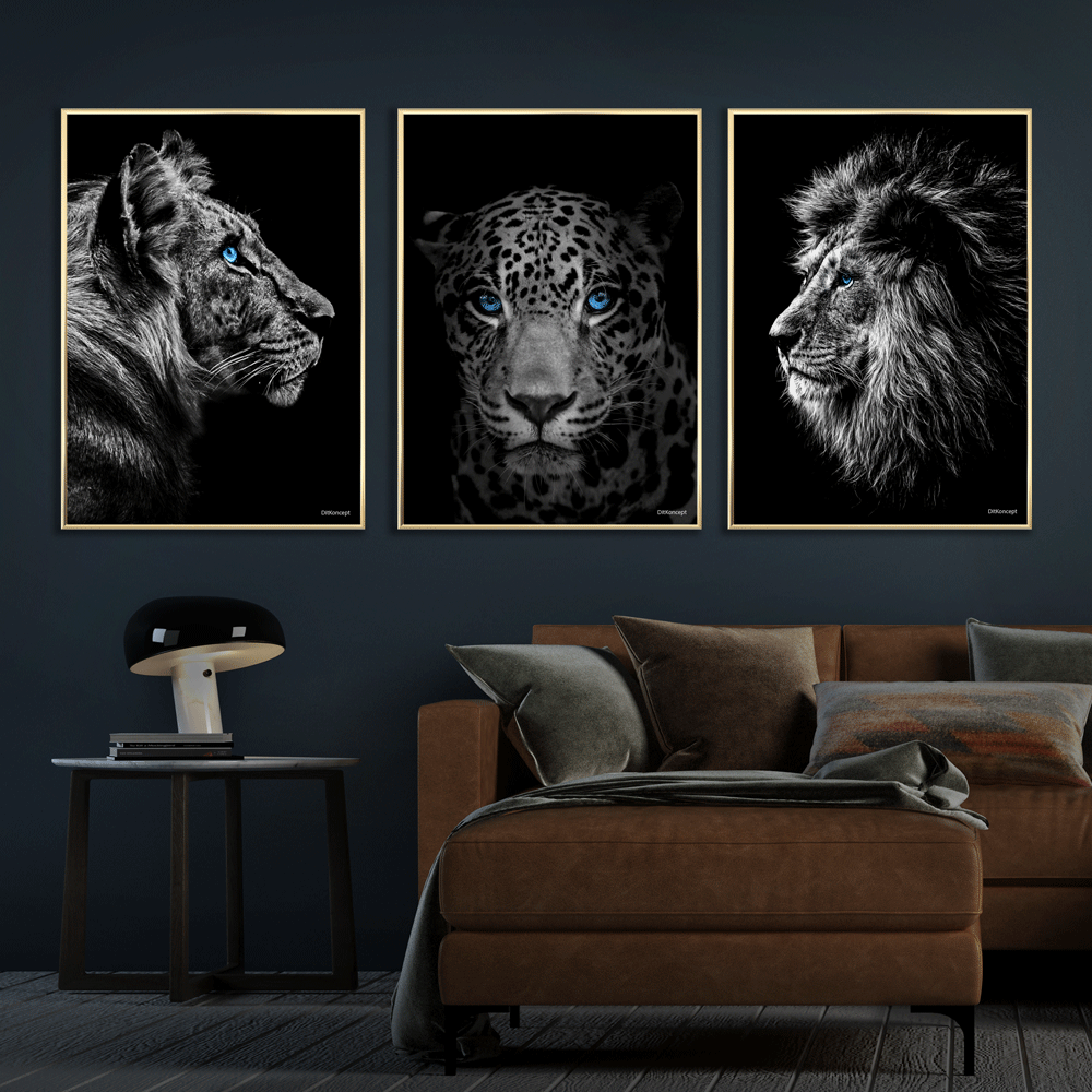 Tiger-Jaguar-Løve-Messing-Plakatrammer