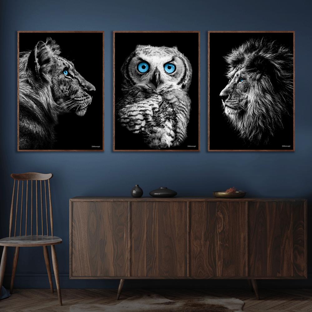 Tiger-Ugle-Løve-Plakat-Mørkebrune-Plakatrammer-Eg