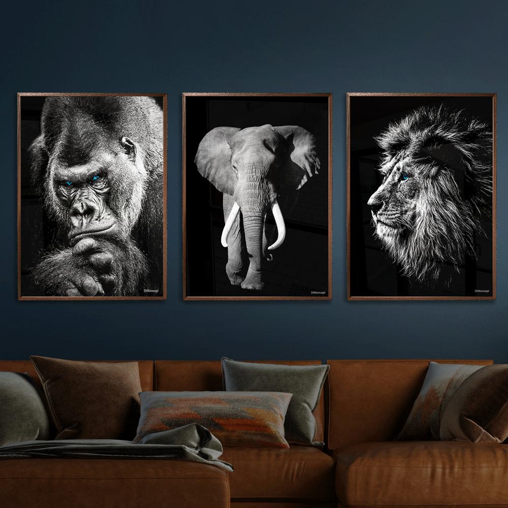 Gorilla-Elefant-Løve-Plakat