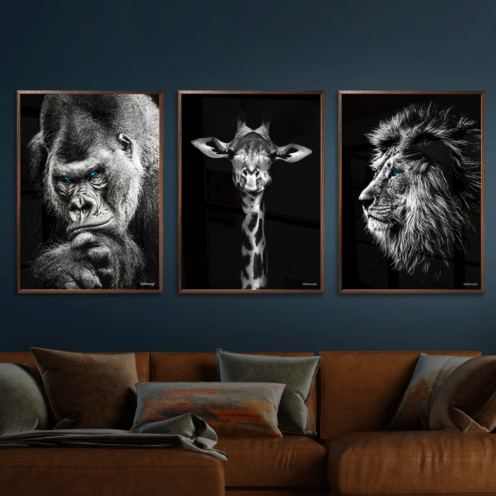 Gorilla-Giraf-Løve-Plakat
