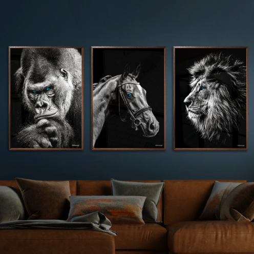 Gorilla-Hest-Løve-Plakat