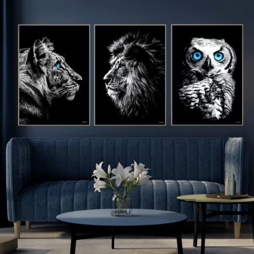 Løve-Tiger-Ugle-Plakater