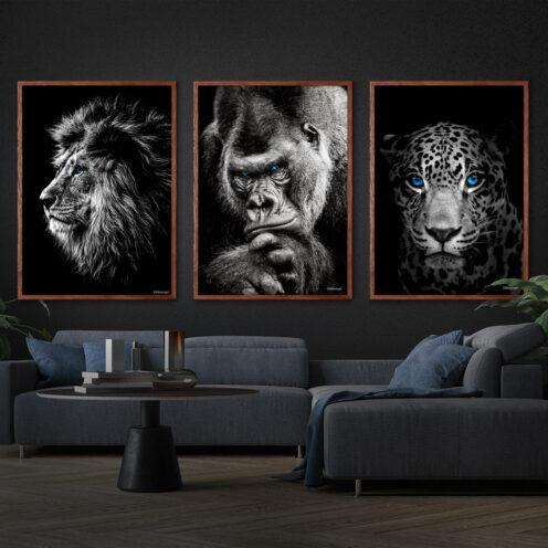 Løven-Gorilla-Jaguar-70x100