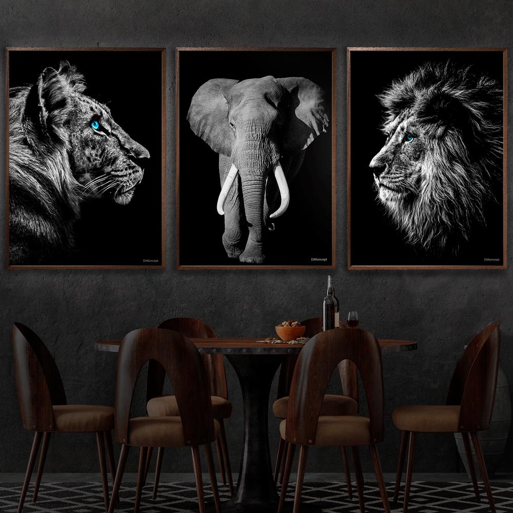Tiger-Elefant-Løve-Plakat