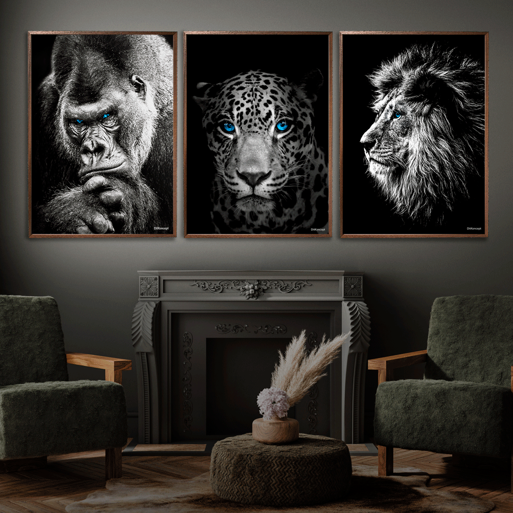 Gorilla-Jaguar-Løve