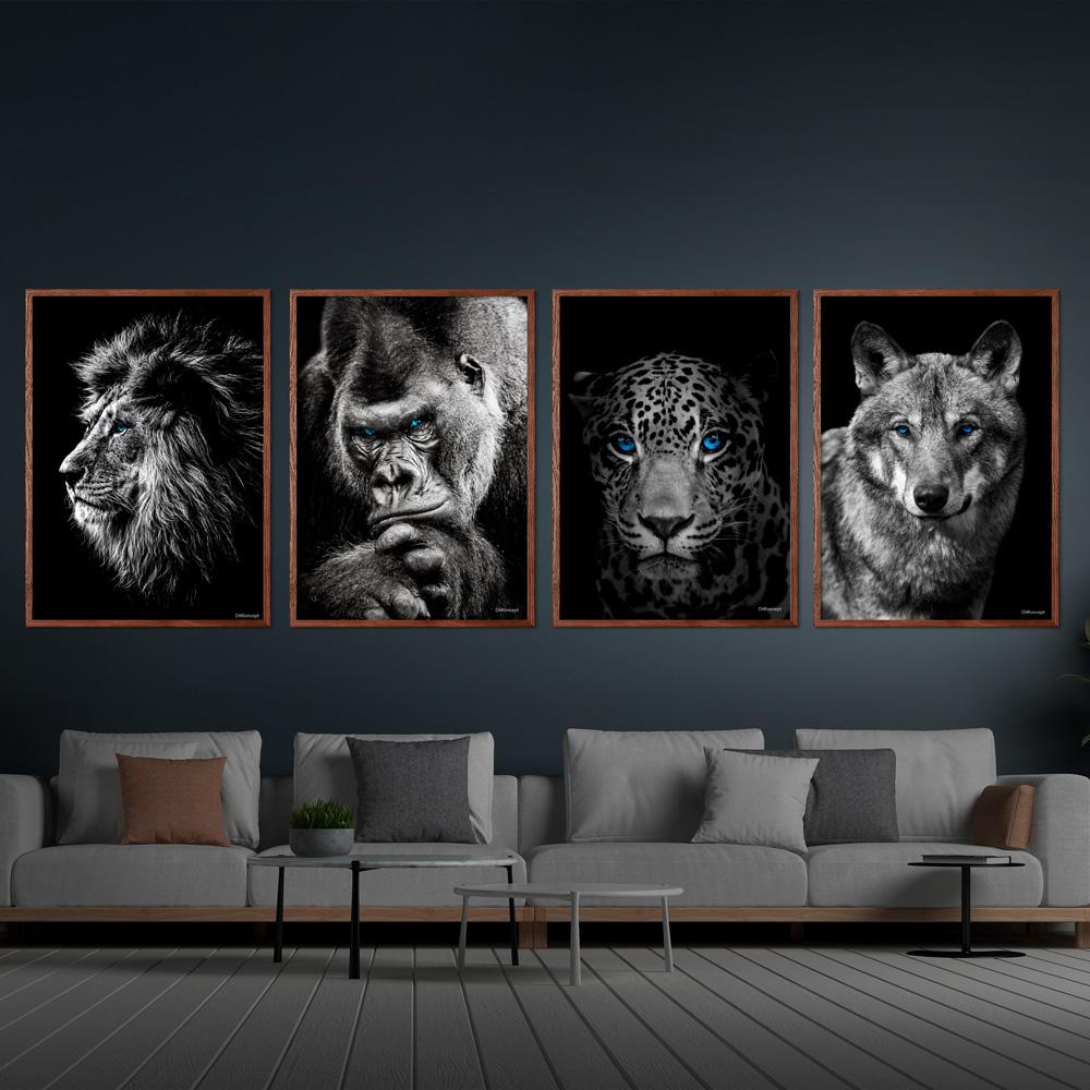 Løve-Gorilla-Jaguar-Ulv-4-stk.-50x70