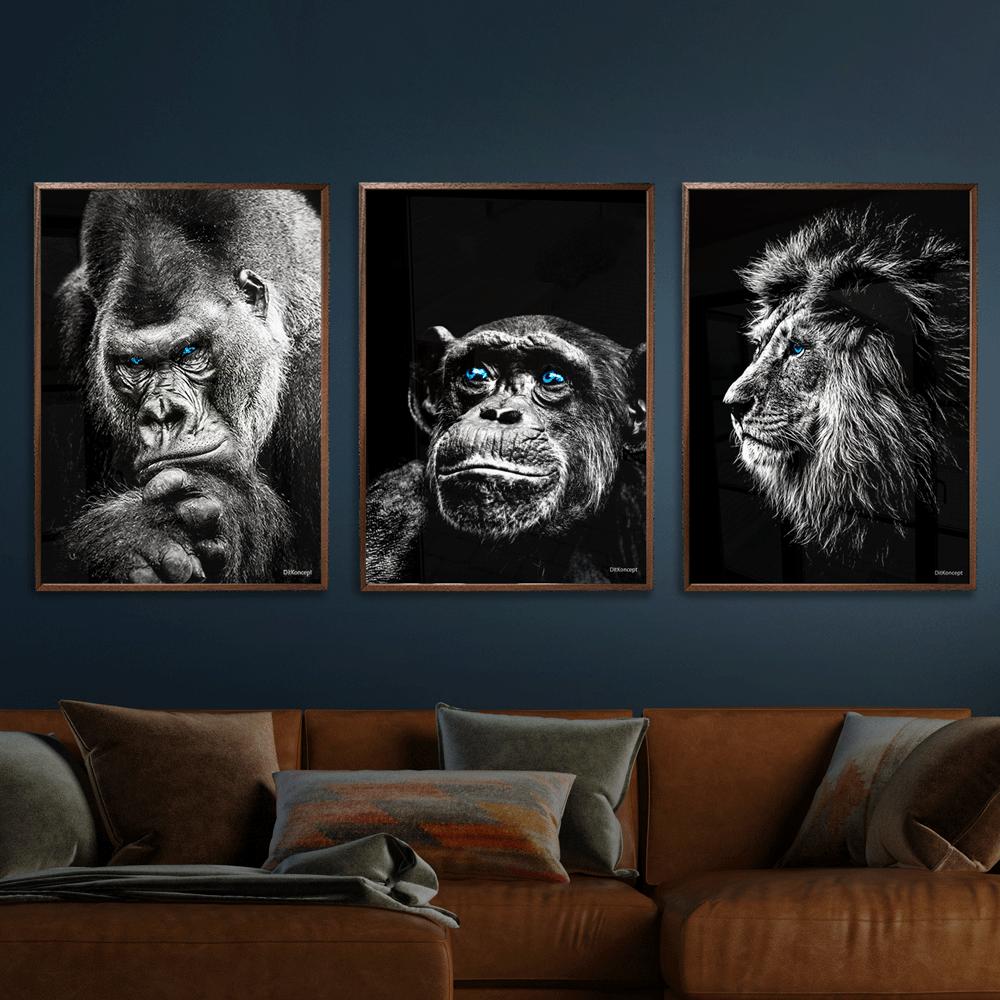Gorilla-Chimpanse-Løve-Plakat