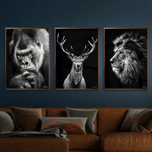 Gorilla-Hjort-Løve-Plakat
