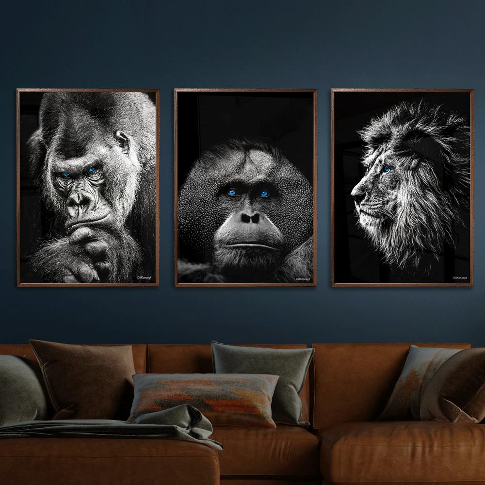 Gorilla-Orangotang-Løve-plakat