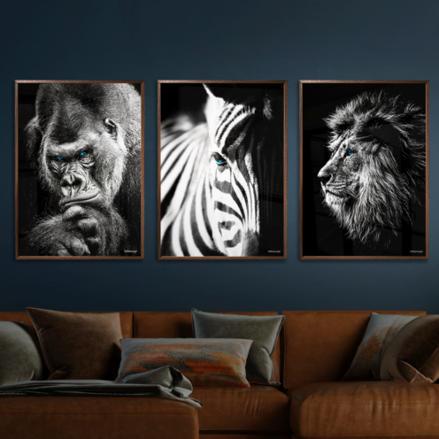 Gorilla-Zebra-Løve-Plakat