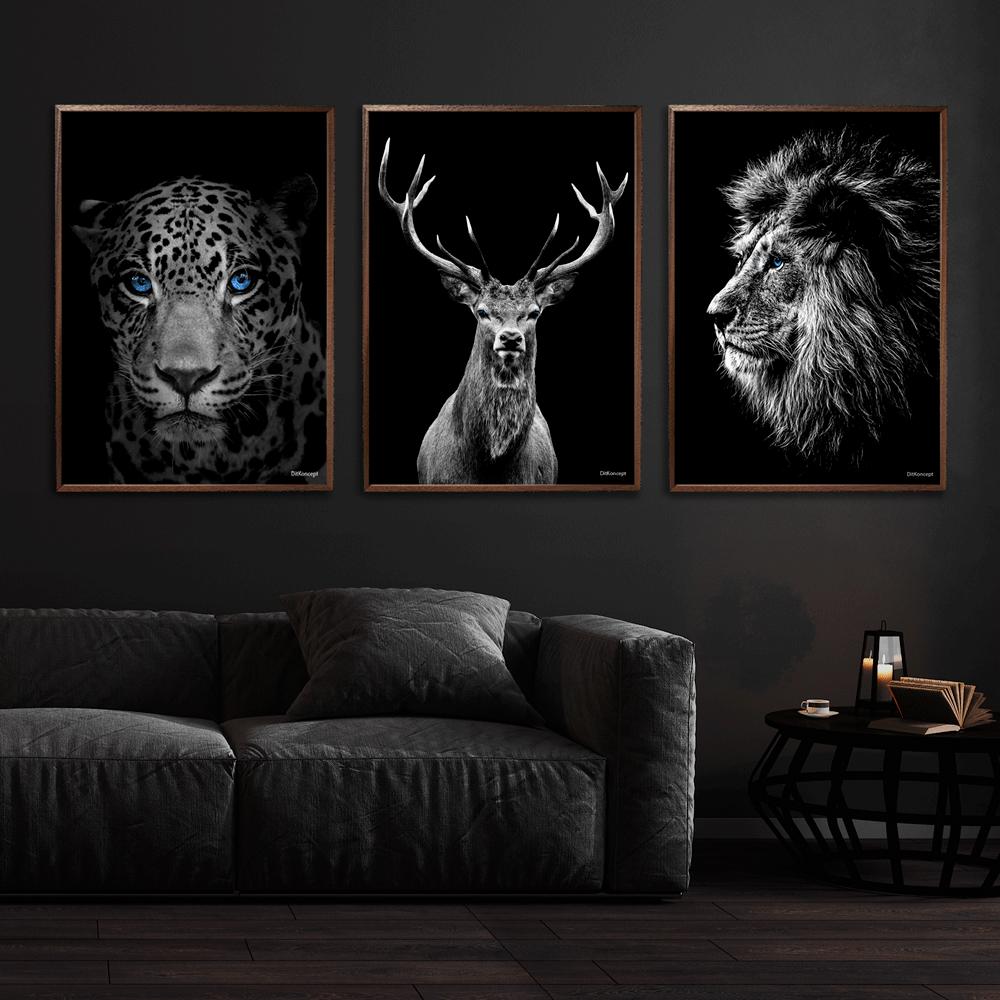 Jaguar-Hjort-Løve-Plakat