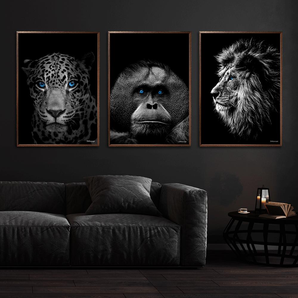 Jaguar-Orangotang-Løve-plakat