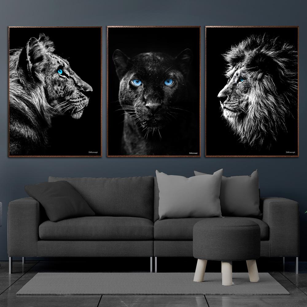 Tiger-Sort-Leopard-Løve-Plakat